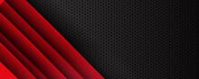 Abstract Grey Metallic Overlap Red Light Hexagon Mesh Design Modern Luxury Futuristic Technology Background Vector Illustration