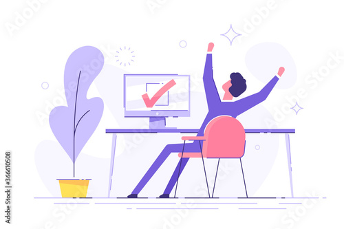 Fototapeta Happy man completed task and triumphing with raised hands on the his workplace.  Successful well done work. Completed task. modern vector illustration. obraz