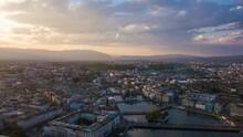 Sunset Sky Geneva Lakeside Cityscape Aerial Panoramic 4k Timelapse Switzerland