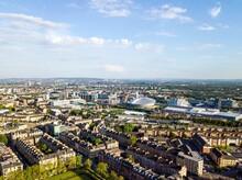 Aerial View Of Glasgow Skyline, Scotland, UK.