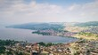 sunny day zurich cityscape lakeside aerial panoramic 4k timelapse switzerland
