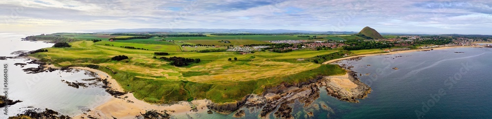 Fototapeta Aerial panorama of a golf course at North Berwick, East Lothian, Scotland, UK