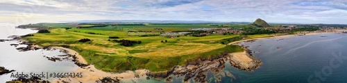 Foto Aerial panorama of a golf course at North Berwick, East Lothian, Scotland, UK