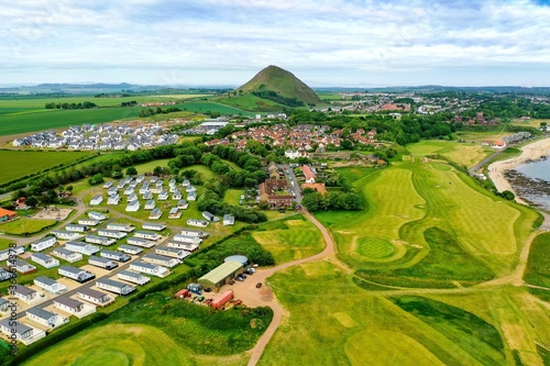 Aerial view of golf course in North Berwick, East Lothian, Scotland, UK Poster Mural XXL