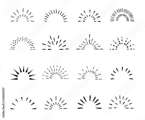 Tablou Canvas Set of vintage hand drawn sunburst rays design elements, halves, explosion, fireworks, black rays, vector illustration