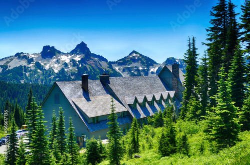 Paradise Inn with Tatoosh range in background Canvas Print