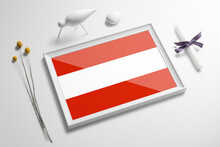Austria Flag In Wooden Frame On Table. White Natural Soft Concept, National Celebration Theme.
