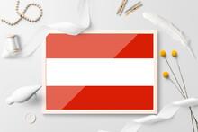 Austria Flag In Wooden Frame O...