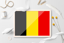 Belgium Flag In Wooden Frame O...