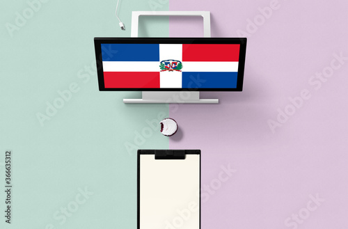 Dominican Republic national flag on computer screen top view, cupcake and empty note paper for planning Canvas Print