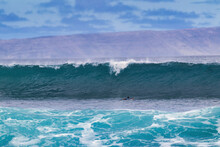 Big Cresting Wave Rolling In To Shore On Maui.