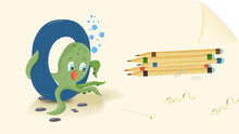 Illustration Layout Banner Of The English Alphabet For Learning The Alphabet Letter O Octopus On A Sheet Of Paper With Colored Pencils