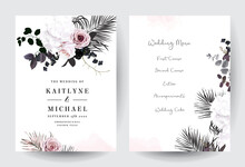 Black And Dusty Pink Flowers G...