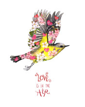 """Flying Bird And Text """"Love In The Air"""", Watercolor Illustration . Beautiful Little Tit With Flowers And Hearts Isolated On White Background. Creative Abstract Spring Card For Valentine Day"""