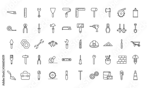 Fototapeta tool repair maintenance and construction equipment icons set line style icon obraz