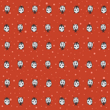 Vector Lady Bug On Red With Dots Seamless Pattern Print Background.