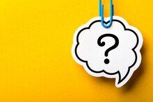 Question Mark Speech Bubble Isolated On Yellow Background