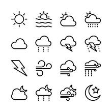 Weather Icon Set Line Art Design Editable Stroke