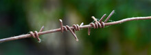 Banner Of Barbed Wire Close Up