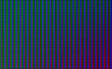 Led Wall Video Screen With Green, Blue And Red Dot Lights On Black Background. Vector Background With Grid Pattern Of Pixels For Led Display. Digital Panel With Mesh Of Diode Lamps