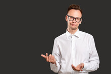Skeptic Man Portrait. Oh Come On. Disappointed Millennial Guy With Sarcastic Smile Isolated Showing Black Copy Space. Confident Teacher Disproving Wrong Idea. Easy Learning. Language Course.