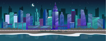 Night City Flat Color Vector I...