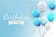 Birthday Invitation Background With Balloons. Vector Illustration