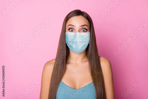 Obraz Close-up portrait of her she nice-looking attractive lovely pretty long-haired girl wearing safety gauze mask stop influenza stay home keep social distance isolated over pink color background - fototapety do salonu