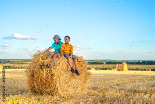 Two young boys have fun  sit  on a haystack on a sunny day in the field Fototapet