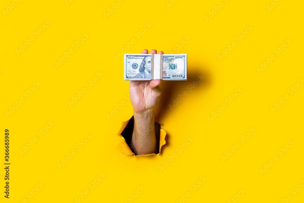Fototapeta Female hand holds horizontally a bundle of money bills on a yellow background.