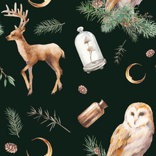 Watercolor Magic Forest Wallpaper. Plants, Owl, Reindeer And Moon Decor Seamless Pattern