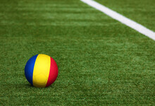 Romania Flag On Ball At Soccer...