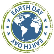 Earth Day Text Rubber Stamp Earth Globe Icon Isolated On White Background.