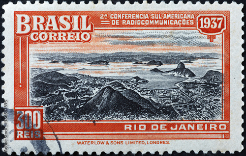 Valokuva Panorama of Rio in old stamp of 1937