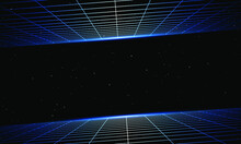 Retro Wave 3D Grid In Space