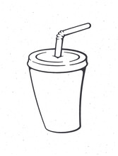 Disposable Paper Cup With Soda And Straw. Outline. Cartoon Glass With Carbonated Cold Drink. Film Industry And Fast Food Symbol. Vector Illustration. Hand Drawn Sketch. Isolated White Background