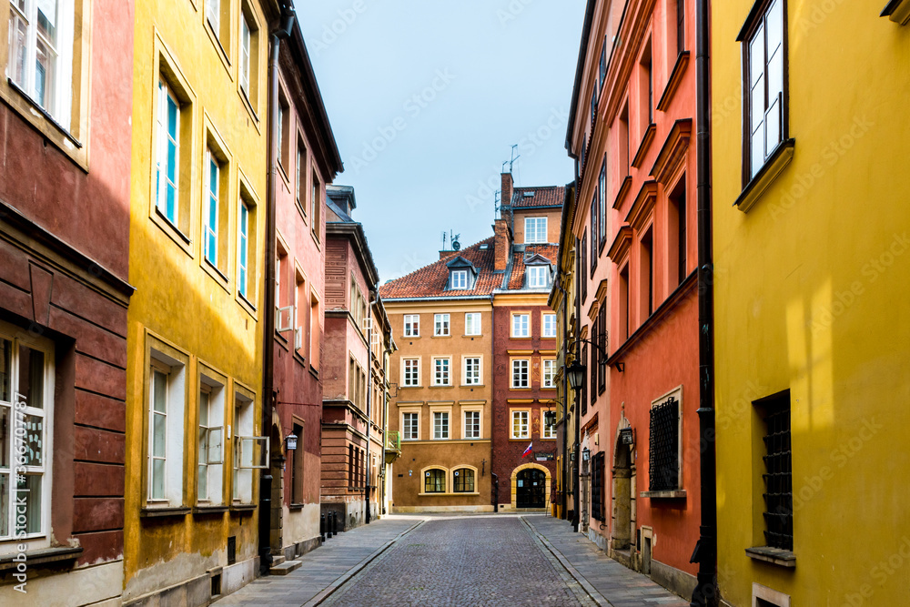 Fototapeta Old town street in Warsaw, Poland