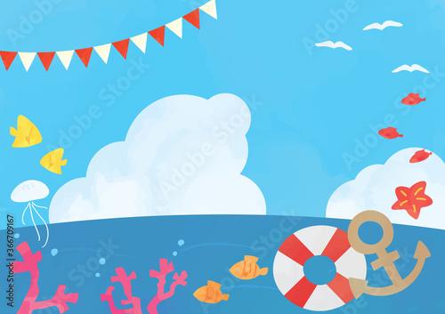 Fotomural 夏の海背景イラストと海の生き物フレーム素材