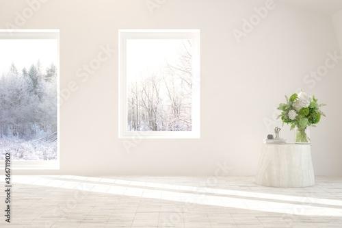 Fotografía White empty room with winter landscape in window