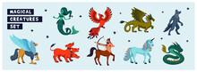 Magical Creatures Set. Mythological Animals. Flat Style Vector Illustration Isolated On White Background. Horizontal Page.
