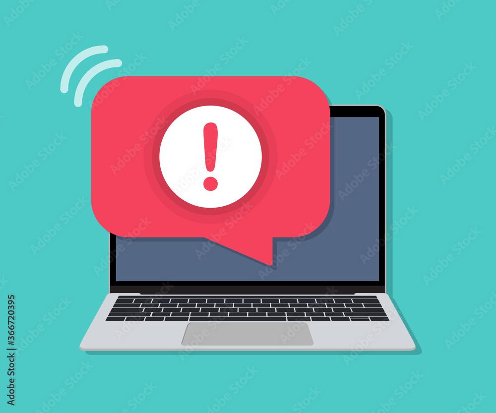 Fototapeta Laptop with alert message notification in a flat design