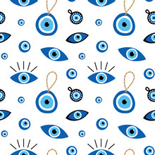 Vector Cartoon Style Seamless Pattern Background With Variety Of Turkish Blue Eye-shaped Amulets, Nazar Talismans.