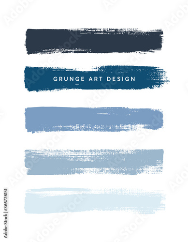 Blue shades art brush paint texture stripes set isolated vector background. Grunge colorful strokes set.