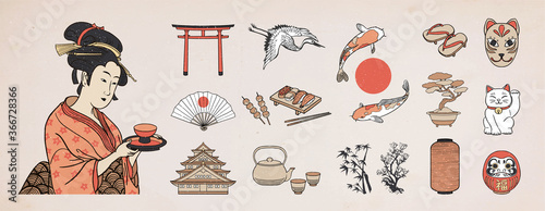 Set of Japanese design elements Fototapet