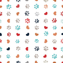Doodle Red, Orange, Grey And Turquoise Small Paw Prints With Hearts Seamless Fabric Design Pattern Vector