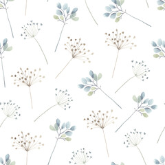 Panel Szklany Ogrody Watercolor floral seamless pattern with scattered abstract plants. Airy, light and flying ornament on white background for textile, wallpaper or paper.