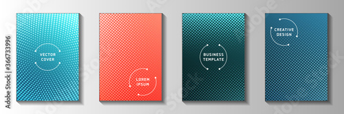 Tablou Canvas Trendy dot faded screen tone cover page templates vector series