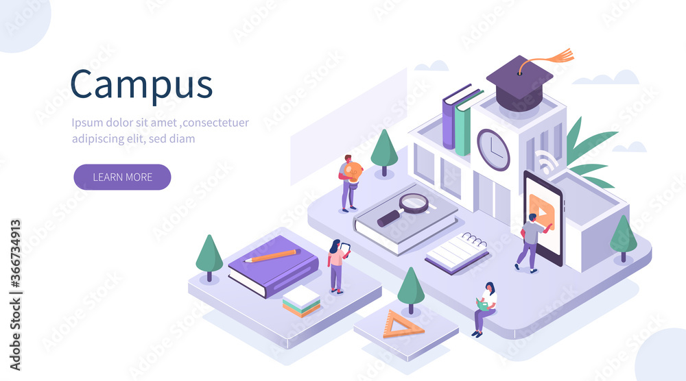 Fototapeta Students Study Online in University or College Campus. Girls and Boys Learning Together with Smartphone and Books. Distance  Education Technology Concept. Flat Isometric Vector Illustration.