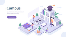 Students Study Online In University Or College Campus. Girls And Boys Learning Together With Smartphone And Books. Distance  Education Technology Concept. Flat Isometric Vector Illustration.