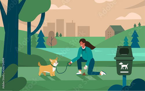 Fotomural Pet Owner Walking with Dog in Park and Gathering Excrement in Special Bag